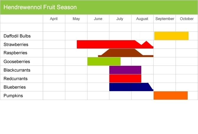 Hendrewennol fruit picking season chart